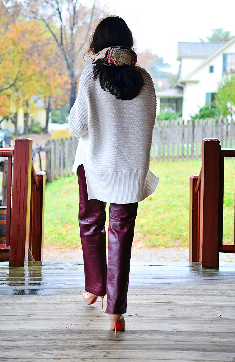 Knit with leather outfit street style