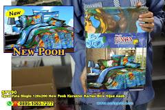 Sprei Fata Single 120×200 New Pooh Karakter Kartun Biru Hijau Anak