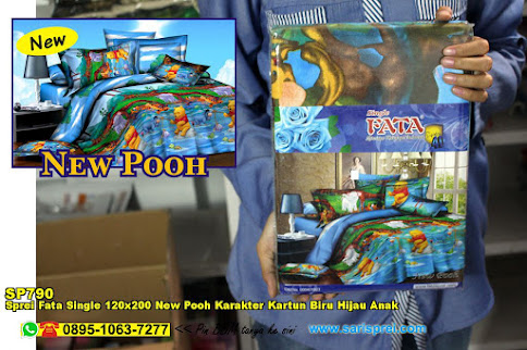 Sprei Fata Single 120x200 New Pooh Karakter Kartun Biru Hijau Anak