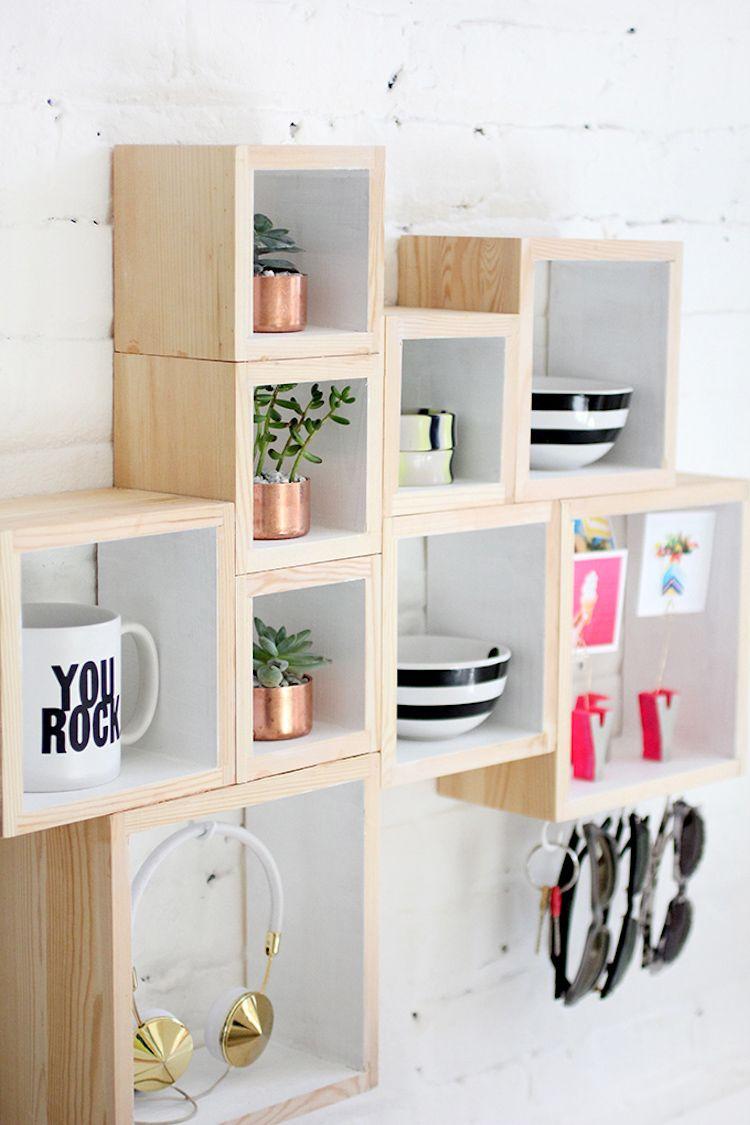 composición con cajas de madera diy