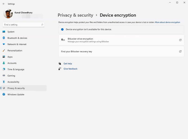 A quick look to Windows 11 Settings app - Privacy & Security - Device Encryption