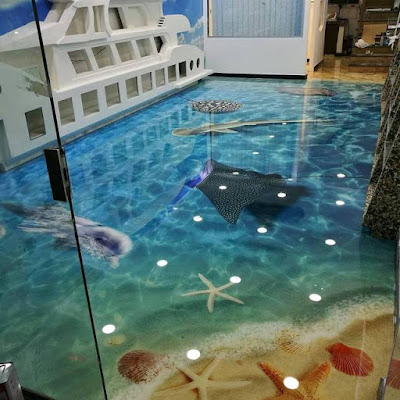 3d floor art, 3d flooring for kids room, 3d beach floor mural
