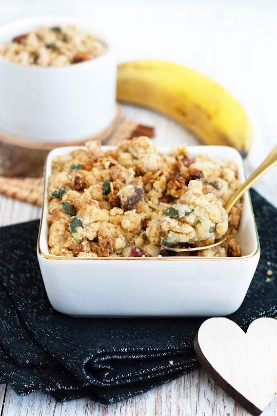 recette Crumble pomme banane muesli