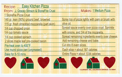 A recipe card for pizza made with beef and onions, and a ready-made crust.