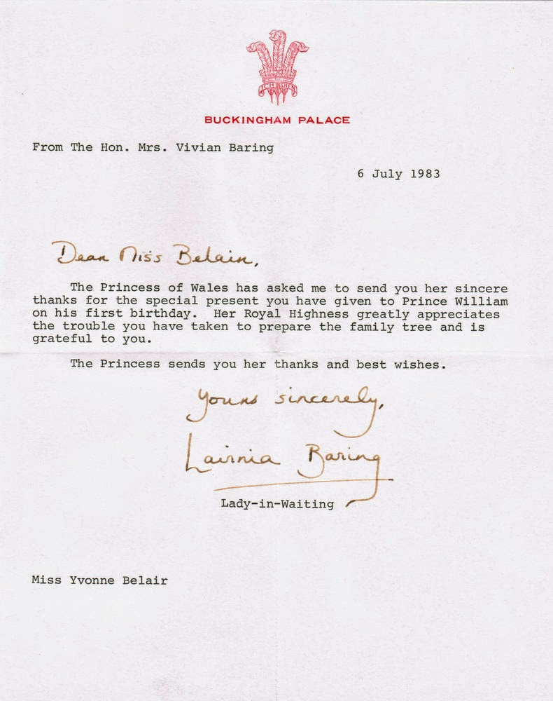 Letter from Buckingham Palace to Yvonne Belair