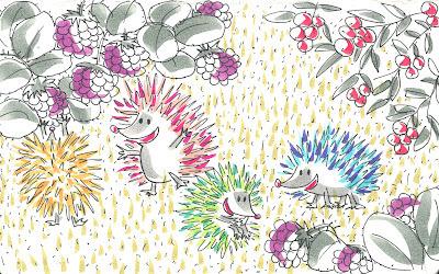 Historia de tres erizos divertidos y de colorines