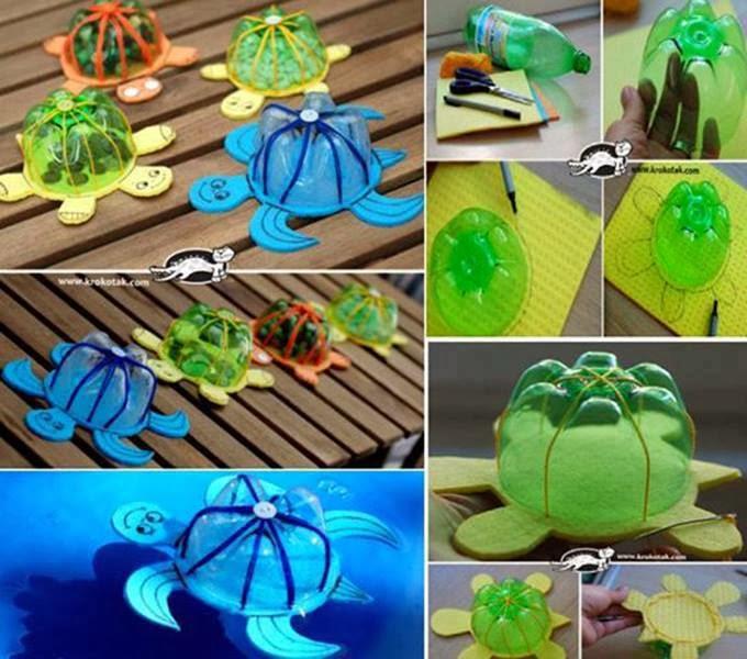 crea unas simpáticas tortuguitas con botellas de plástico