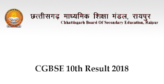 CGBSE 10th Result 2018 Online
