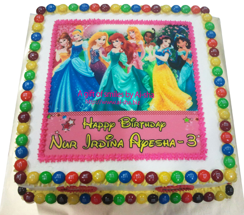 Birthday Cake Edible Image Disney Princess Happy Birthday Nur