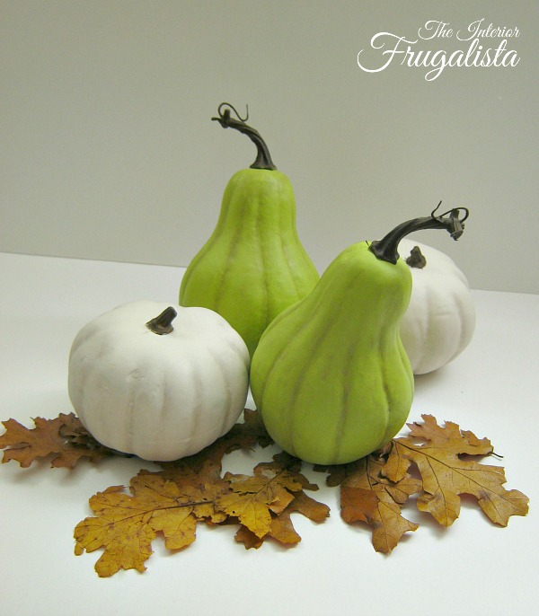 Chalk Painted Dollar Store Pumpkins and Gourds