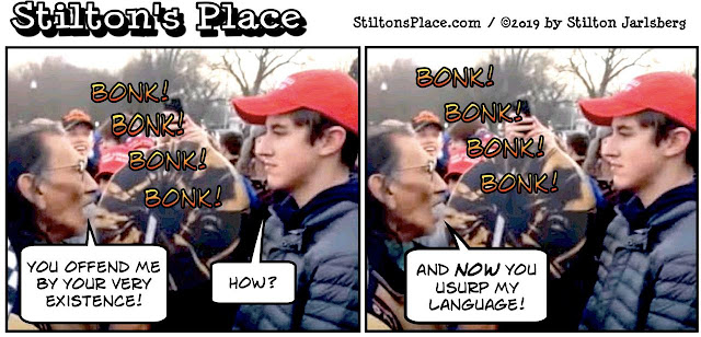 stilton's place, stilton, political, humor, conservative, cartoons, jokes, hope n' change, covington, native american, snl, stormy, cortez, wall, trump