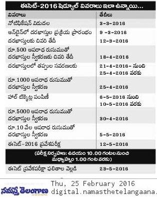 Telangana ECET Notification  2016 Apply Online