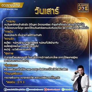ดวงรายปักษ์ประจำวันที่ 1 - 15 พฤษภาคม 2562 คนเกิดวันเสาร์