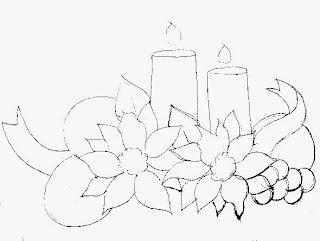 desenho de velas de natal com bolas, flores bico de papagaio e uvas.