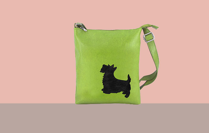 LAVISHY vegan leather bag with dog applique