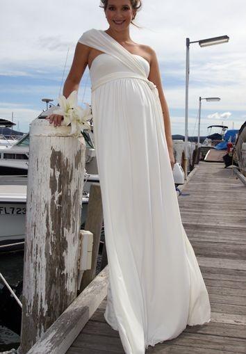 91950294c3d7 Chiffon One-Shoulder Empire A-Line Long Maternity Wedding Dress