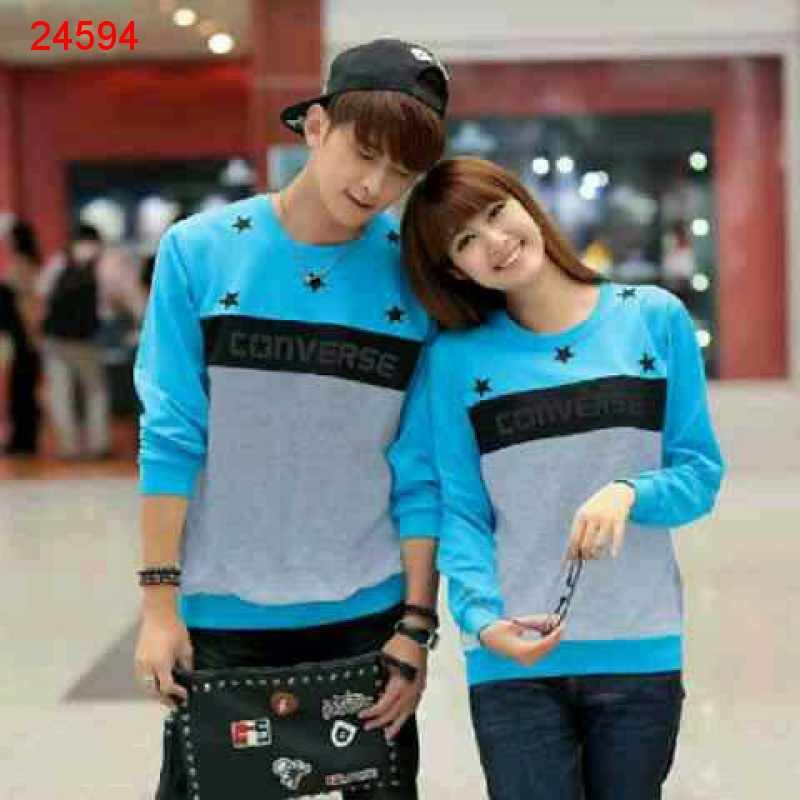 Jual Sweater Couple Sweater Star Converse Turquise Misty - 24594