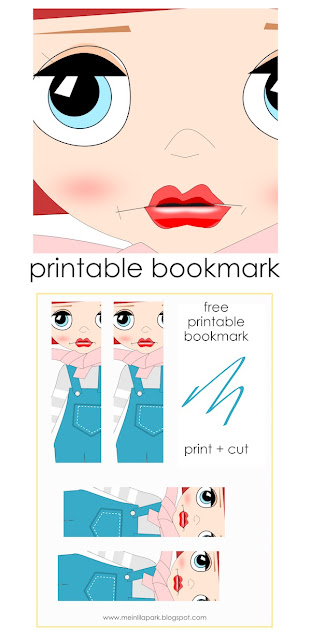 Free printable cutie bookmark : big eyed doll face
