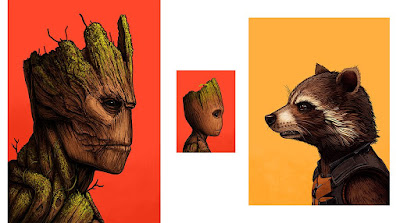 Guardians of the Galaxy Rocket Raccoon, Baby Groot & Groot Marvel Portrait Prints by Mike Mitchell x Mondo