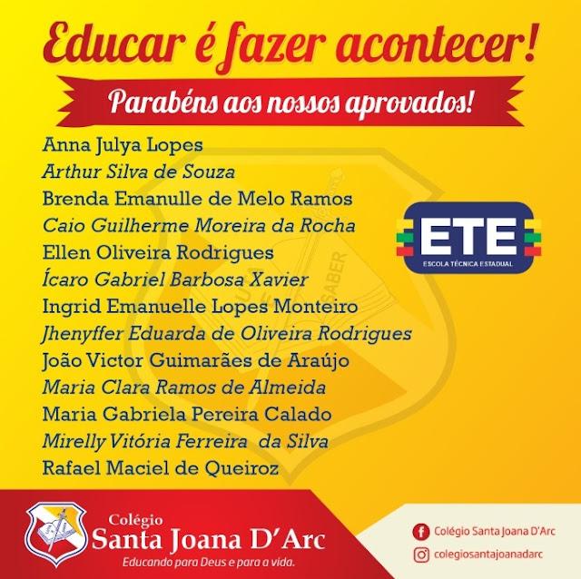 Parabéns aos nossos alunos aprovados na ETE