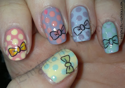 enigmatic-rambles-w7-sheer-lemon-sally-hansen-first-kiss-delphinium-revlon-cloud-elf-mint-cream-dotticure-fake-tattoo-bows