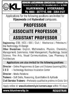 Vijayawada, K.L University, Recruitment 2019 Professor / Associate Professor / Assistant Professor Jobs