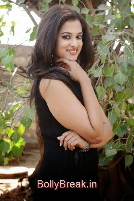 Nanditha Photo Gallery with no Watermarks, Nanditha Hot Pics In Black Dress from Movie Krishnamma Kalipindi Iddarini Shooting Spot