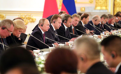 Vladimir Putin at the Russian-Chinese talks in expanded format.