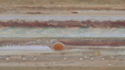 map-projected view of Jupiter surface featuring Great Red Spot