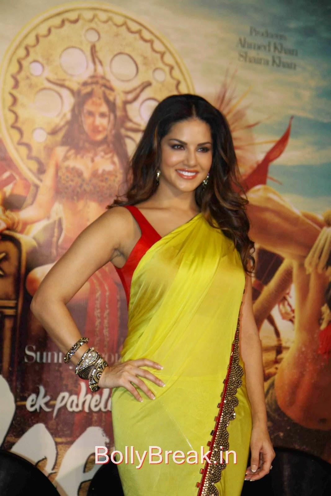 Leela Movie Actress Sunny Leone Hot Pics In Yellow Saree -1537