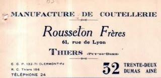 Rousselon frères, Thiers, Auvergne.