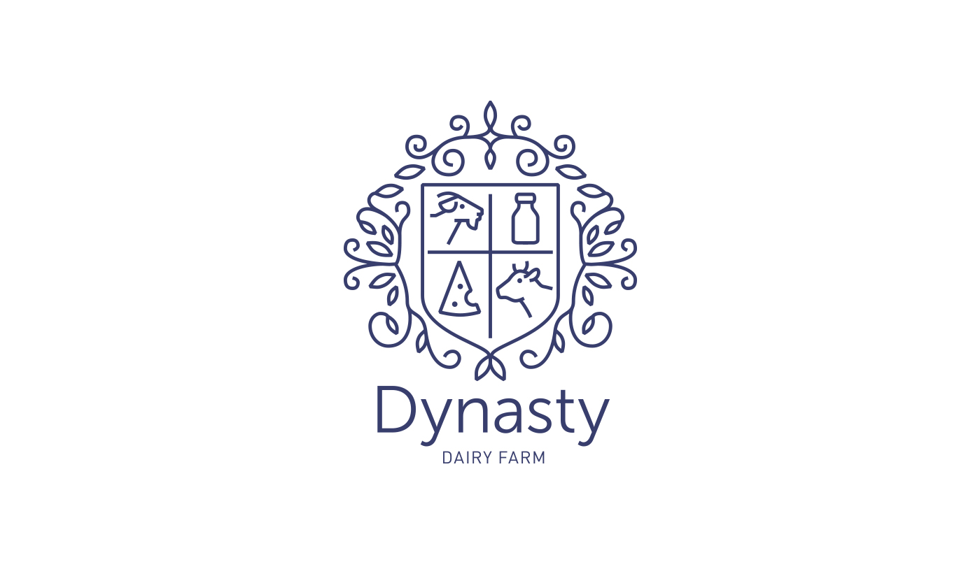 Dynasty dairy farm concept on packaging of the world creative all the logos are made in the same style using animal symbols which along with color differentiation help to navigate through the product line buycottarizona