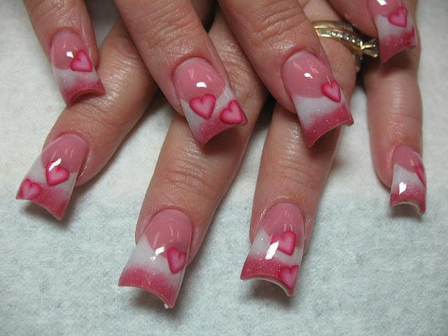 Pink Heart Nail