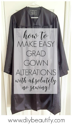 Learn how to easily alter a grad gown, with no sewing! Find the tutorial at diy beautify!