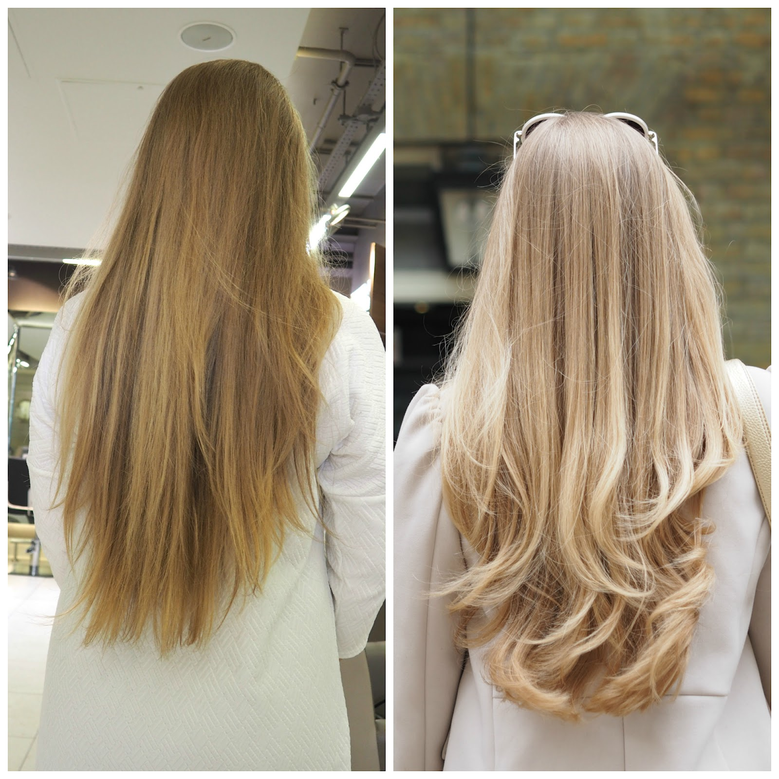 Katie Matthews hair, before and after a cut and blow dry at the Richard Ward salon in Chelsea, London