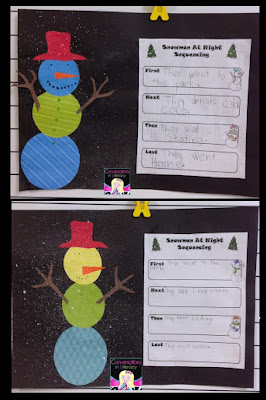 Snowmen at Night Craft and Sequencing Activities
