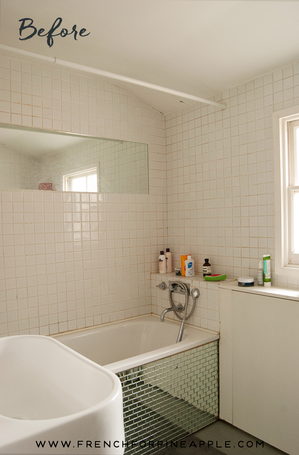 A Mini Bathroom Makeover F R E N C H F O R P I N E A P P L E - Mini bathroom makeover