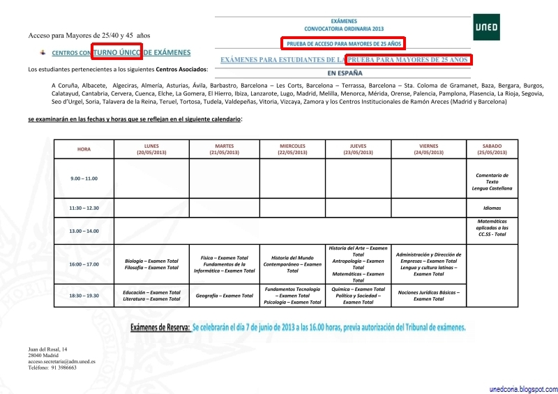 Calendario De Examenes Uned.Uned Aula De Coria Caceres 2013