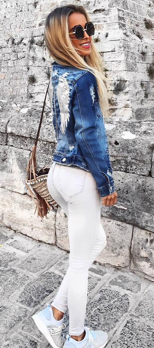 ootd: denim jacket + white pants