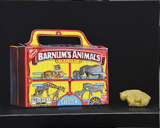 photorealistic painting of a box of animal crackers by kim testone