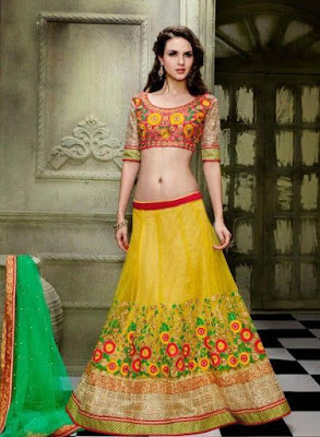 Multi color bridal mehndi dress for a bride that loves casual dress.