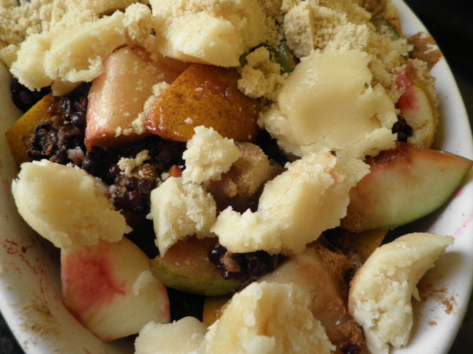 ...With Love and Cake: Autumn Fruit and Marzipan Crumble and a Few Mistakes
