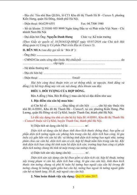 Mẫu Hợp đồng mua bán căn hộ chung cư Thanh Hà Mường Thanh