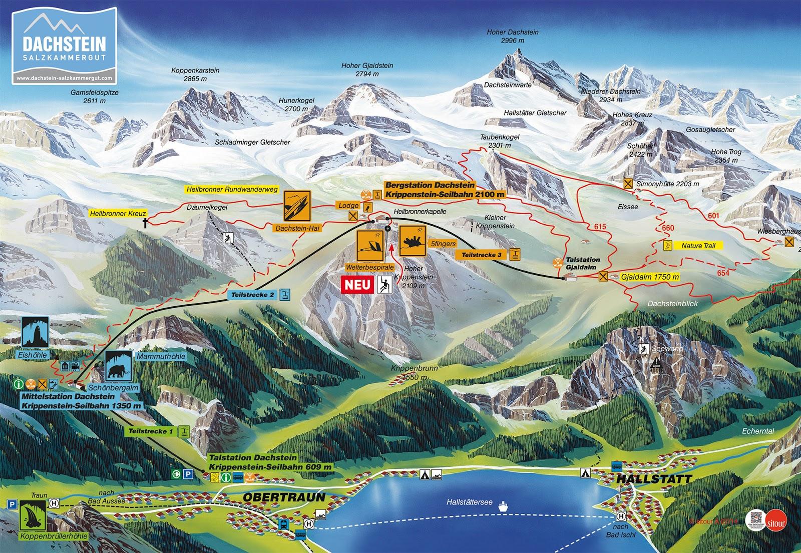 ausztria látnivalók térkép Ausztria Mánia : Dachstein   három kiránduló célpont egy hegyen! ausztria látnivalók térkép