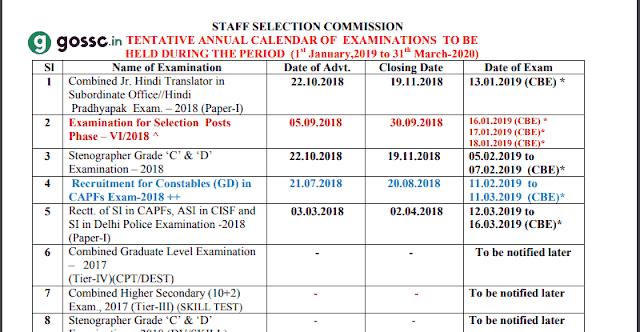 ssc-exam-calendar 2019