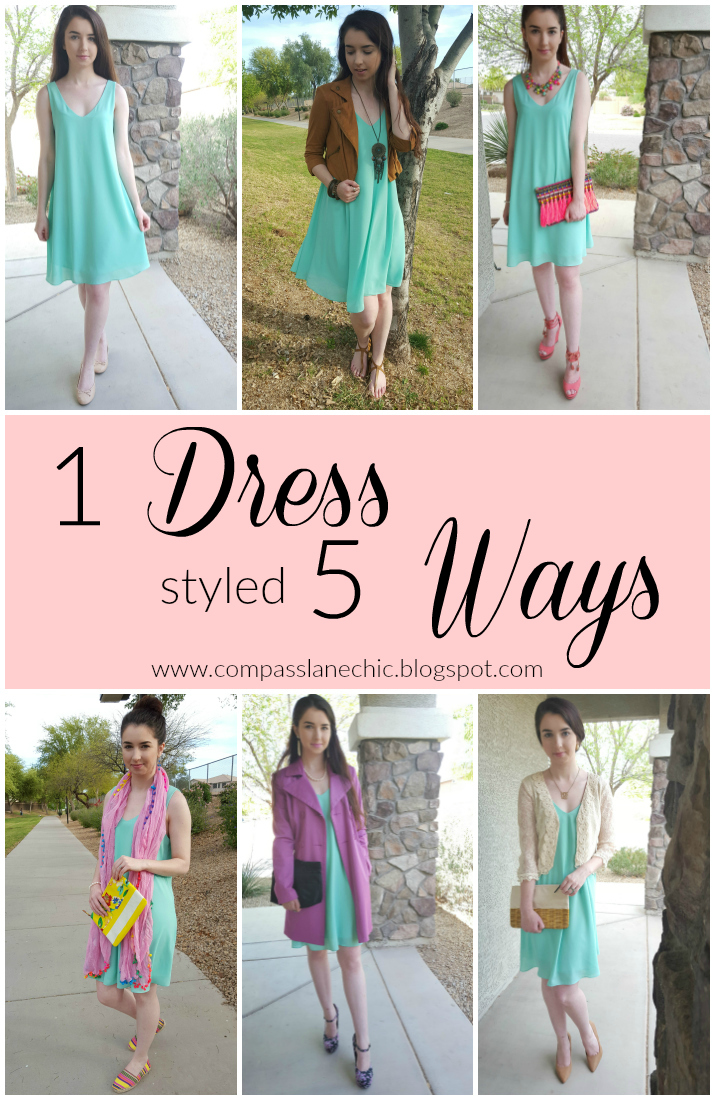 See how to style a simple shift dress 5 ways for Spring