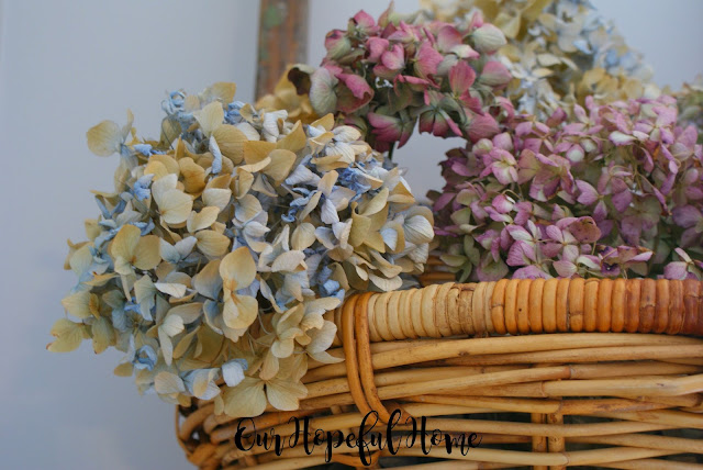 vintage French wall basket hydrangeas ladder