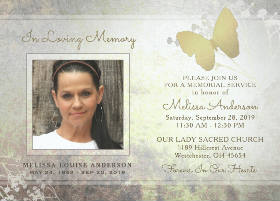 silver & gold floral butterfly memorial service invite
