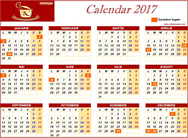 Calendar 2017 - sarbatori legale