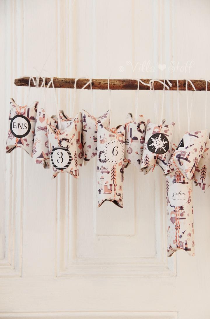 villa stoff blog diy adventskalender aus toilettenpapierrollen. Black Bedroom Furniture Sets. Home Design Ideas